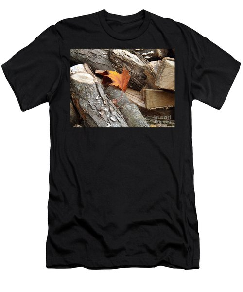 Men's T-Shirt (Slim Fit) featuring the photograph Maple Leaf In Wood Pile by Brenda Brown