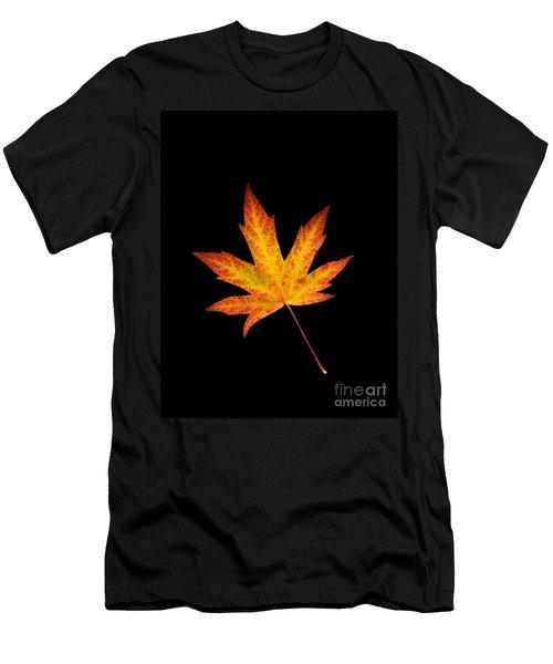 Maple Leaf On Black Men's T-Shirt (Athletic Fit)