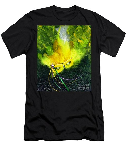 Men's T-Shirt (Slim Fit) featuring the painting Mardi Gras On Green by Alys Caviness-Gober