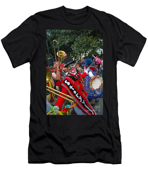 Men's T-Shirt (Slim Fit) featuring the photograph Mardi Gras Storyville Marching Group by Luana K Perez