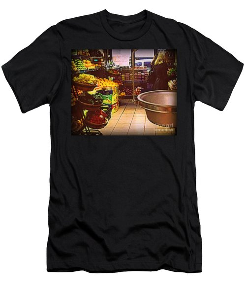 Men's T-Shirt (Slim Fit) featuring the photograph Market With Bronze Scale by Miriam Danar
