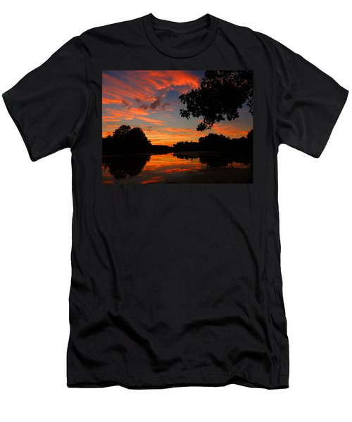 Marlu Lake At Sunset Men's T-Shirt (Slim Fit) by Raymond Salani III