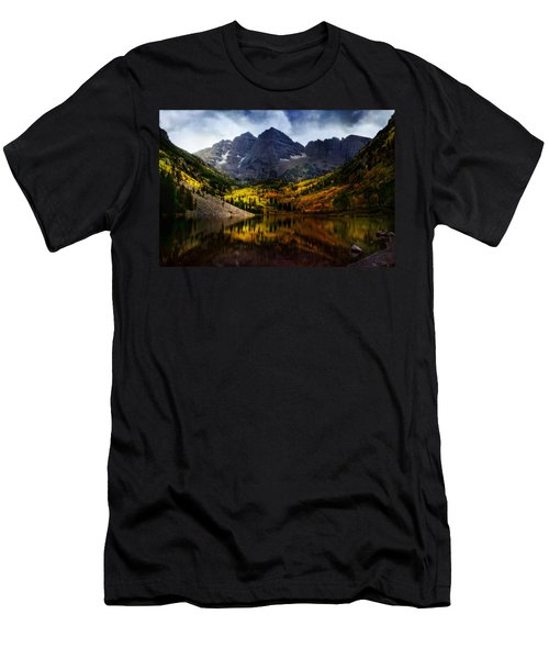Men's T-Shirt (Slim Fit) featuring the photograph Maroon Bells - An American Icon by Ellen Heaverlo