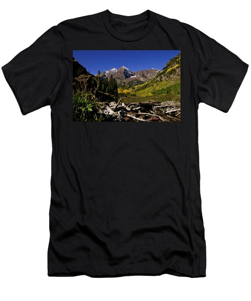 Men's T-Shirt (Slim Fit) featuring the photograph Maroon Bells by Jeremy Rhoades
