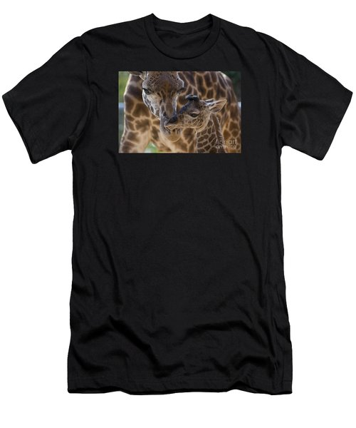 Men's T-Shirt (Athletic Fit) featuring the photograph Masai Giraffe And Calf by San Diego Zoo