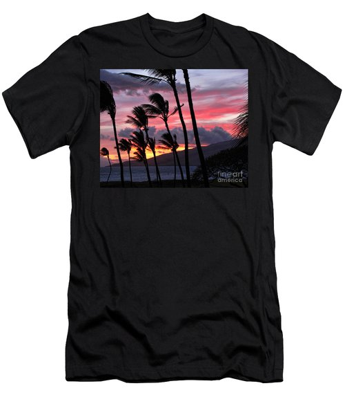 Men's T-Shirt (Slim Fit) featuring the photograph Maui Sunset by Peggy Hughes