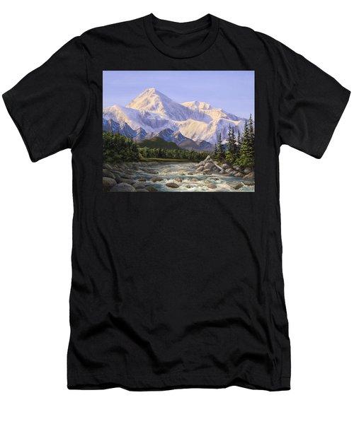 Majestic Denali Mountain Landscape - Alaska Painting - Mountains And River - Wilderness Decor Men's T-Shirt (Athletic Fit)