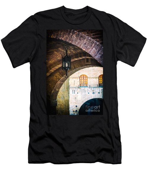 Men's T-Shirt (Slim Fit) featuring the photograph Medieval Arches With Lamp by Silvia Ganora