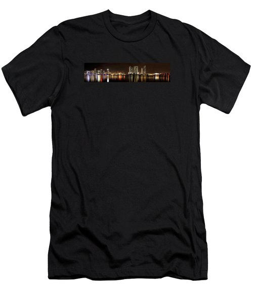 Miami - Skyline Panorama Men's T-Shirt (Slim Fit) by Brendan Reals