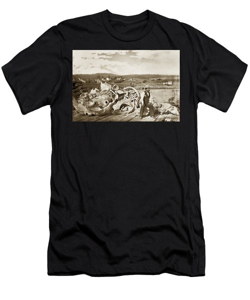 Michael Noon Sitting On A  Pile Of Whale Bones Monterey Wharf  Circa 1896 Men's T-Shirt (Athletic Fit)