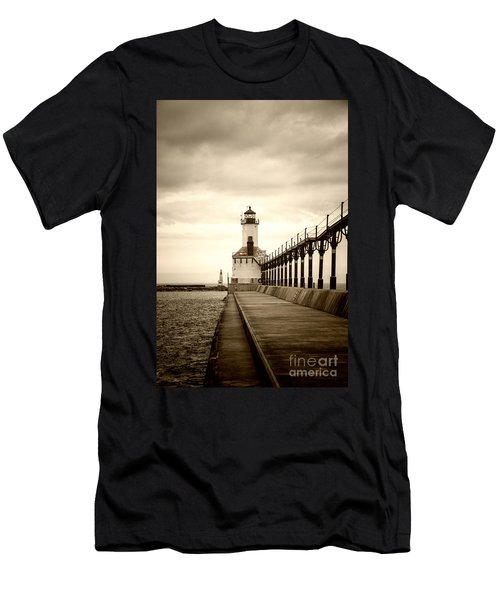 Michigan City Lighthouse Men's T-Shirt (Athletic Fit)