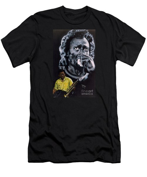 Men's T-Shirt (Slim Fit) featuring the painting More Miles Of Davis by Thomas J Herring