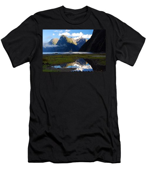 Men's T-Shirt (Athletic Fit) featuring the photograph Milford Sound by Cascade Colors