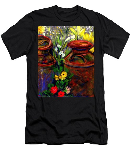 Milk Cans At Flower Show Sold Men's T-Shirt (Slim Fit) by Antonia Citrino