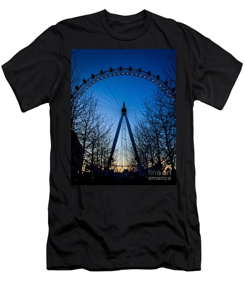 Men's T-Shirt (Slim Fit) featuring the photograph Millennium Eye London At Twilight by Peta Thames