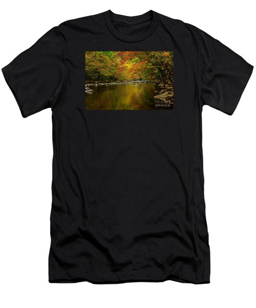 Men's T-Shirt (Slim Fit) featuring the photograph Mirror Fall Stream In The Mountains by Debbie Green