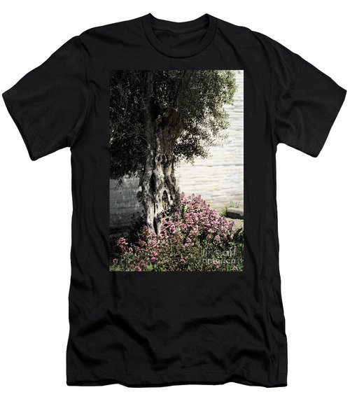 Men's T-Shirt (Slim Fit) featuring the photograph Mission San Jose Tree Dedicated To The Ohlones by Ellen Cotton