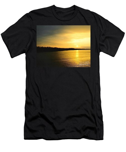 Men's T-Shirt (Slim Fit) featuring the photograph Sunrise Over The Mississippi River Post Hurricane Katrina Chalmette Louisiana Usa by Michael Hoard