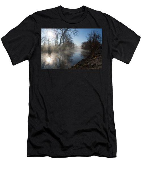 Misty Morning Along James River Men's T-Shirt (Slim Fit) by Jennifer White