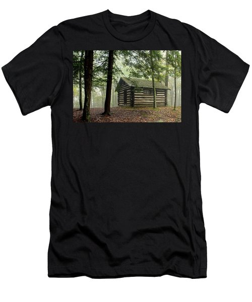 Men's T-Shirt (Slim Fit) featuring the photograph Misty Morning Cabin by Suzanne Stout