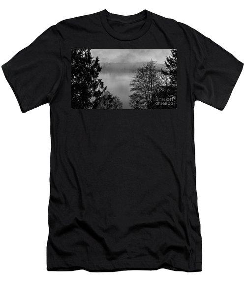 Misty Morning Sunrise Black And White Art Prints Men's T-Shirt (Slim Fit) by Valerie Garner