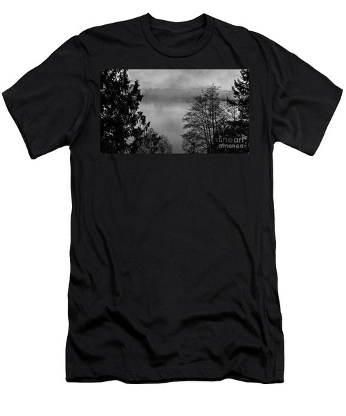 Misty Morning Sunrise Black And White Art Prints Men's T-Shirt (Athletic Fit)