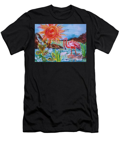 Momma And Baby Flamingo Chillin In A Blue Lagoon  Men's T-Shirt (Athletic Fit)