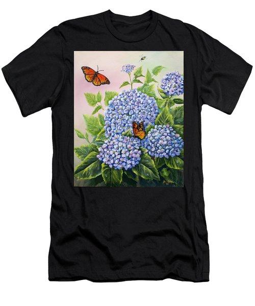 Monarchs And Hydrangeas Men's T-Shirt (Athletic Fit)