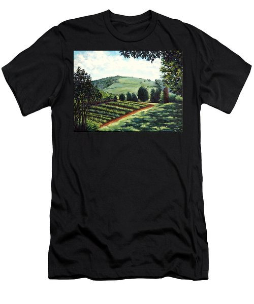 Men's T-Shirt (Slim Fit) featuring the painting Monticello Vegetable Garden by Penny Birch-Williams