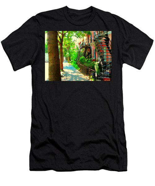 Montreal Art Colorful Winding Staircase Scenes Tree Lined Streets Of Verdun Art By Carole Spandau Men's T-Shirt (Slim Fit) by Carole Spandau