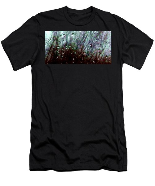 Men's T-Shirt (Slim Fit) featuring the photograph Moody Blues Rain On The Window Series 2 Abstract Photo by Marianne Dow
