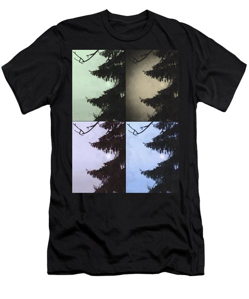 Men's T-Shirt (Slim Fit) featuring the photograph Moon And Tree by Photographic Arts And Design Studio