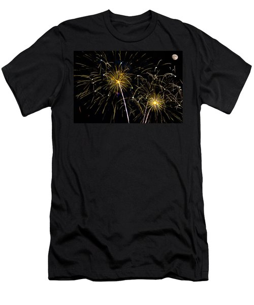 Moon Over Golden Starburst- July Fourth - Fireworks Men's T-Shirt (Athletic Fit)