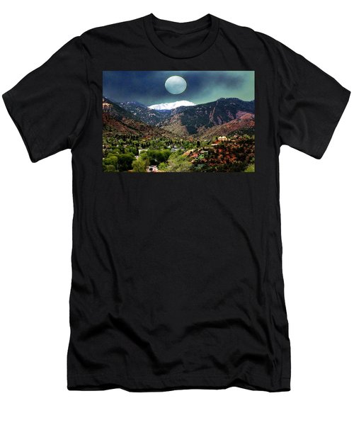 Men's T-Shirt (Slim Fit) featuring the photograph Moon Over Manitou I by Lanita Williams