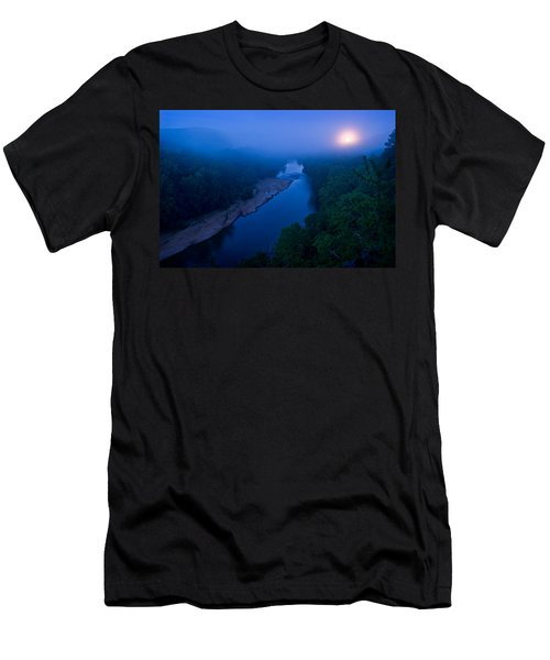 Moon Setting Over The Current River Men's T-Shirt (Athletic Fit)