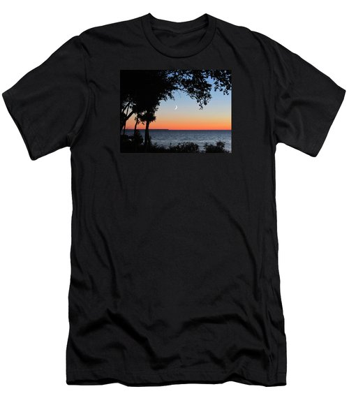 Moon Sliver At Sunset Men's T-Shirt (Slim Fit) by David T Wilkinson
