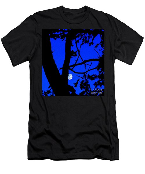 Men's T-Shirt (Slim Fit) featuring the photograph Moon Through Trees 2 by Janette Boyd