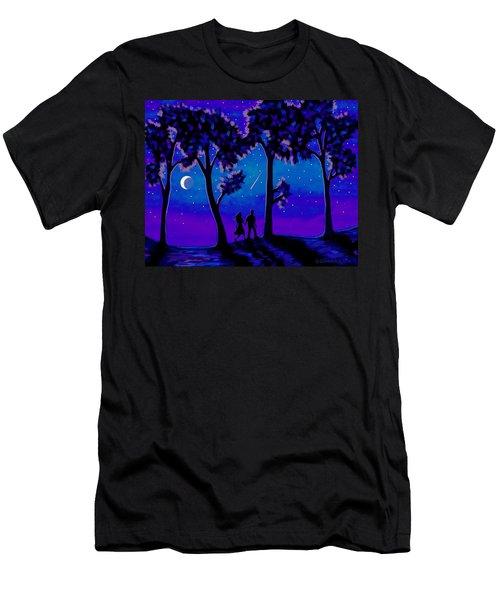 Men's T-Shirt (Slim Fit) featuring the painting Moonlight Walk by Sophia Schmierer