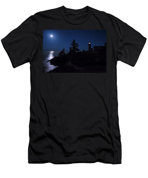 Men's T-Shirt (Slim Fit) featuring the photograph Moonlit Panorama West Quoddy Head Lighthouse by Marty Saccone