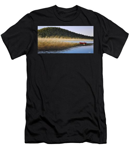 Men's T-Shirt (Slim Fit) featuring the painting Moose Lake Paddle by Kenneth M  Kirsch