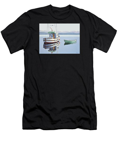 Morning Calm-fishing Boat With Skiff Men's T-Shirt (Athletic Fit)