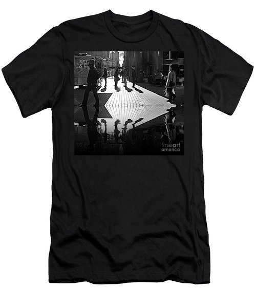 Men's T-Shirt (Slim Fit) featuring the photograph Morning Coffee Line On The Streets Of New York City by Lilliana Mendez