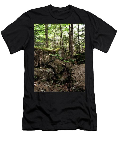Mossy Rocks In The Forest Men's T-Shirt (Athletic Fit)