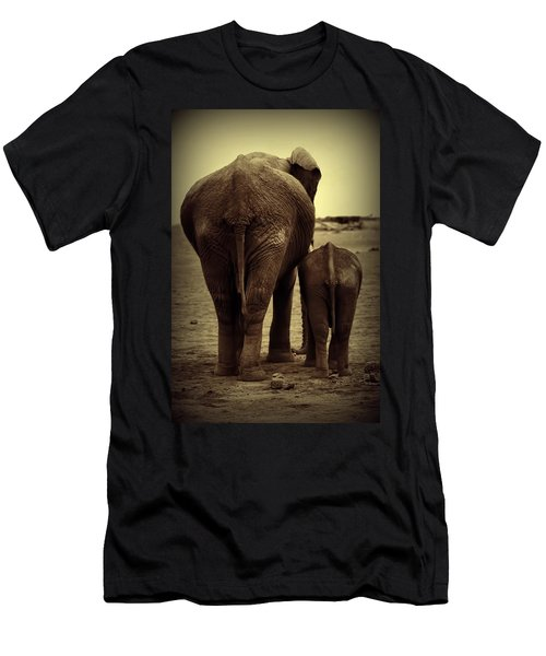Mother And Baby Elephant In Black And White Men's T-Shirt (Athletic Fit)