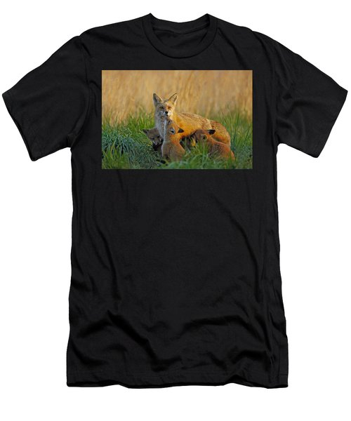 Mother Fox And Kits Men's T-Shirt (Athletic Fit)