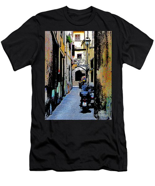 Men's T-Shirt (Slim Fit) featuring the digital art Motorcyle In Florence Alley by Jennie Breeze