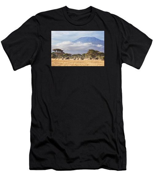 Men's T-Shirt (Athletic Fit) featuring the photograph Mount Kilimanjaro Amboseli  by Richard Garvey-Williams
