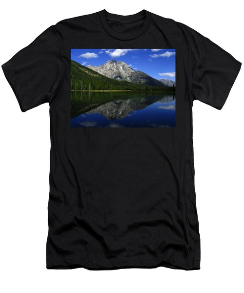 Mount Moran And String Lake Men's T-Shirt (Slim Fit) by Raymond Salani III