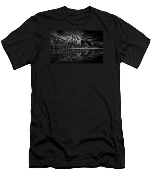 Mount Moran In Black And White Men's T-Shirt (Slim Fit) by Raymond Salani III