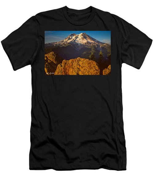 Mount Rainier At Sunset With Big Boulders In Foreground Men's T-Shirt (Slim Fit) by Jeff Goulden